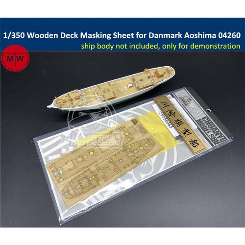 1/350 Scale Wooden Deck Masking Sheet for Danmark Aoshima 04260 Ship Model TMW00065