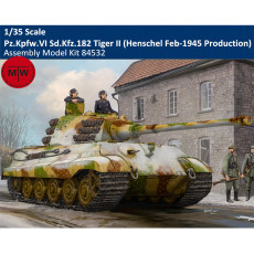 HobbyBoss 84532 1/35 Scale Pz.Kpfw.VI Sd.Kfz.182 Tiger II (Henschel Feb-1945 Production) Military Plastic Assembly Model Kit