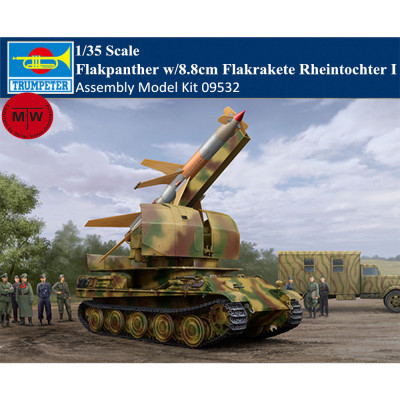 Trumpeter 09532 1/35 Scale Flakpanther w/8.8cm Flakrakete Rheintochter I Military Plastic Assembly Model Kit