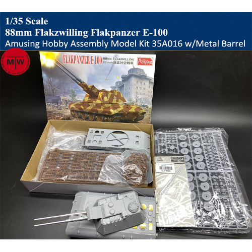 Amusing Hobby 35A016 1/35 Scale 88mm Flakzwilling Flakpanzer E-100 Tank Assembly Model with Metal Barrel
