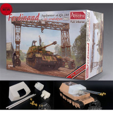 Amusing Hobby 35A030 1/35 Scale Sd.kfz.184 Ferdinand & 16T Strabokran Full Interior Assembly Model w/Metal Barrels Muzzle Brake