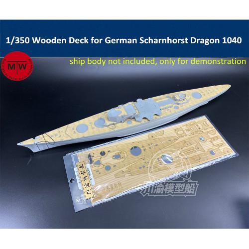 1/350 Scale Wooden Deck for German Scharnhorst 1943 Dragon 1040 Battleship Model TMW00072