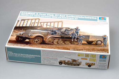 Trumpeter 01525 1/35 Scale German 3.7cm Flak 37 Sd.Kfz.7/2 Early Version Military Assembly Model Building Kits