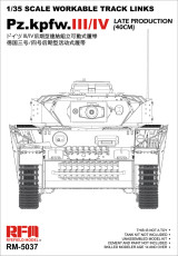 Pre-order Ryefield RM-5037 1/35 Scale Workable Track Links for Pz.Kpfw.III/IV Late Production (40cm) Assembly Model Kit
