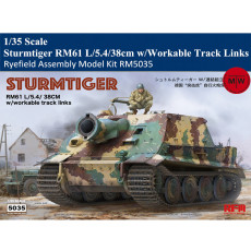 Ryefield RM5035 1/35 Scale German Sturmtiger RM61 L/5.4/38cm w/Workable Track Links Plastic Assembly Model Kits