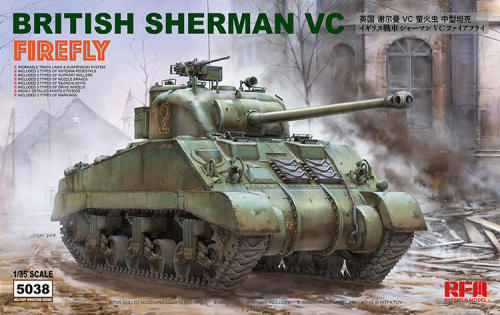 Pre-order Ryefield RM5038 1/35 Scale British Sherman VC Firefly w/Workable Track Links Military Plastic Tank Assembly Model