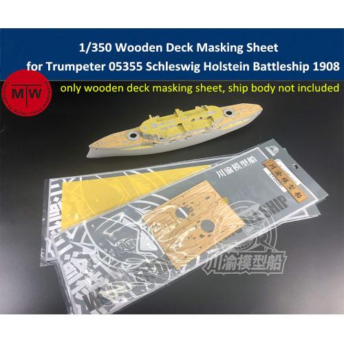 1/350 Scale Wooden Deck Masking Sheet for Trumpeter 05355 Schleswig Holstein 1908 Ship Model TMW00049