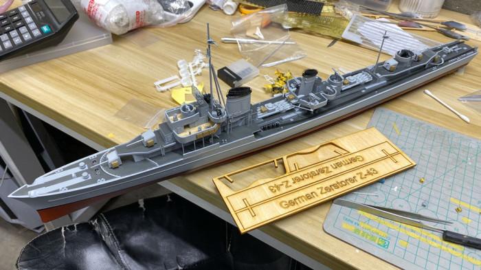1/200 Scale German Z-class Destroyer Z43 Assembly Model Kit & RC Upgrade Set CY509