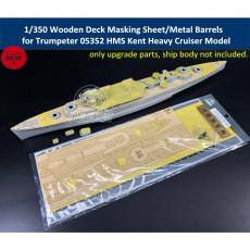 1/350 Scale Wooden Deck Masking Sheet/Metal Barrels for Trumpeter 05352 HMS Kent Heavy Cruiser Model