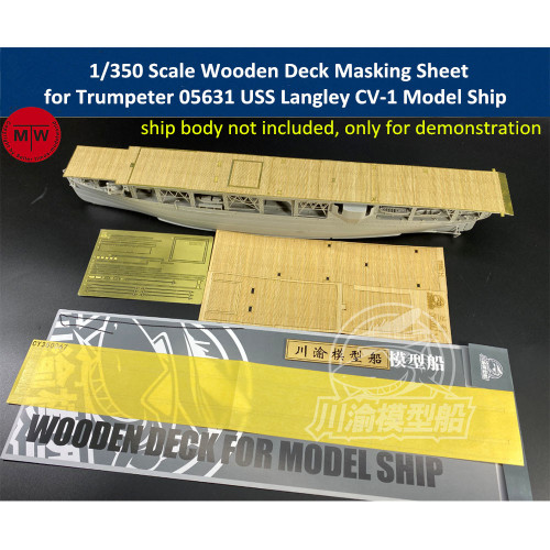 1/350 Scale Wooden Deck Masking Sheet PE for Trumpeter 05631 USS Langley CV-1 Model Ship TMW00095