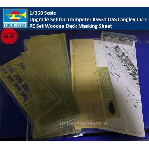Trumpeter 06646 1/350 Scale PE Wooden Deck Masking Sheet Upgrade Set for Trumpeter 05631 USS Langley CV-1 Model Ship