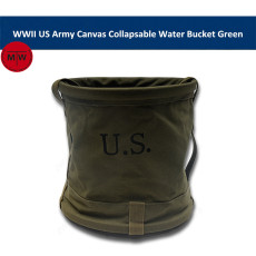 WWII US Army Canvas Collapsable Jeep Water Bucket Bag Green (capacity of 18 litres) TMW00097