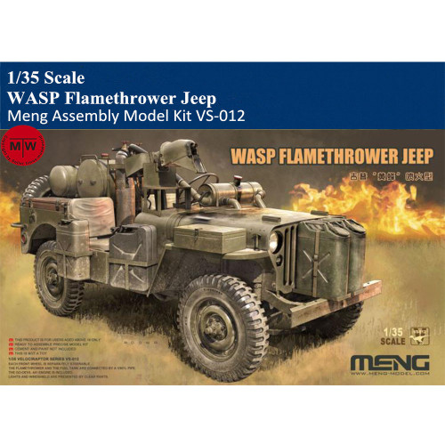 Meng VS-012 1/35 Scale WASP Flamethrower Jeep Military Plastic Assembly Model Kits
