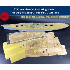 Chuanyu 1/350 Scale Wooden Deck Masking Sheet for Very Fire 350914 USS BB-71 Louisana Battleship Model CY350076