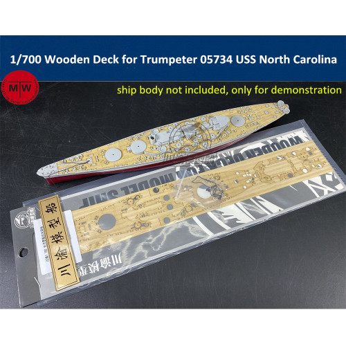 1/700 Scale Wooden Deck for Trumpeter 05734 USS North Carolina BB-55 Model Ship TMW00109