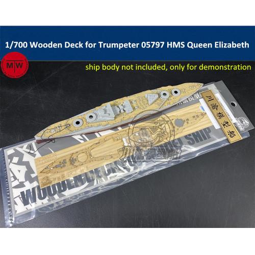 1/700 Scale Wooden Deck for Trumpeter 05797 HMS Queen Elizabeth 1918 Model Ship TMW00108