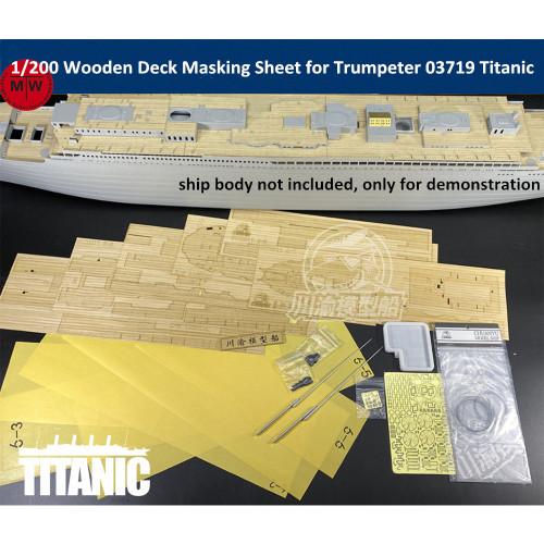 Chuanyu CY20011 1/200 Scale Wooden Deck Masking Sheet Metal Mast PE Upgrade Set for Trumpeter 03719 Titanic Model Ship Kit