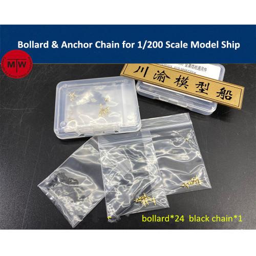 Chuanyu CYG044 Bollard & Anchor Chain for 1/200 Scale Model Ship 24 bollards/set (Anchor not included)
