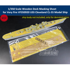 Chuanyu CY350080 1/350 Scale Wooden Deck Masking Sheet for Very Fire VF350920 USS Cleveland CL-55 Model Ship