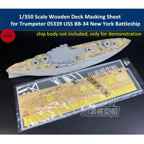 Chuanyu CY350079 1/350 Scale Wooden Deck Masking Sheet for Trumpeter 05339 USS BB-34 New York Battleship Model Kits