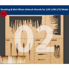 LIANG-0002 Streaking & Wet Effects Airbrush Stencils Model Building Tools for 1/35 1/48 1/72 Scale Military Model