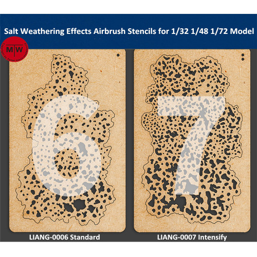 LIANG-0006/LIANG-0007 Salt Weathering Effects Airbrush Stencils Tools for 1/32 1/48 1/72 Scale Fighter Aircraft Model