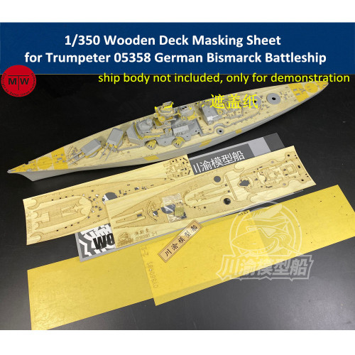Chuanyu CY350081 1/350 Scale Wooden Deck Masking Sheet for Trumpeter 05358 German Bismarck Battleship Model