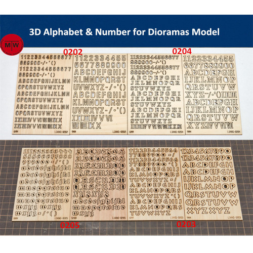 LIANG-0202/0203/0204/0205 3D Alphabet & Number Tools for Dioramas Model