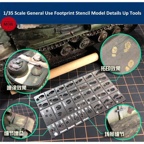 1/35 Scale General Use Footprint Handprint Stencil Template Model Scene DIY Details Up Tools 23in1 AJ0075