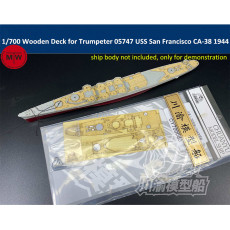 Chuanyu CY700080 1/700 Scale Wooden Deck for Trumpeter 05747 USS San Francisco CA-38 1944 Model Ship