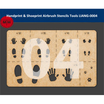 LIANG-0004 Handprint & Shoeprint Airbrush Stencils Tools for 1/16 1/32 1/35 1/48 1/72 Scale Military Model