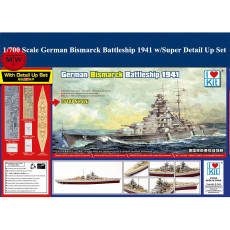 Trumpeter 65701 1/700 Scale German Bismarck Battleship 1941 Plastic Assembly Model Kit w/Super Detail Up Set