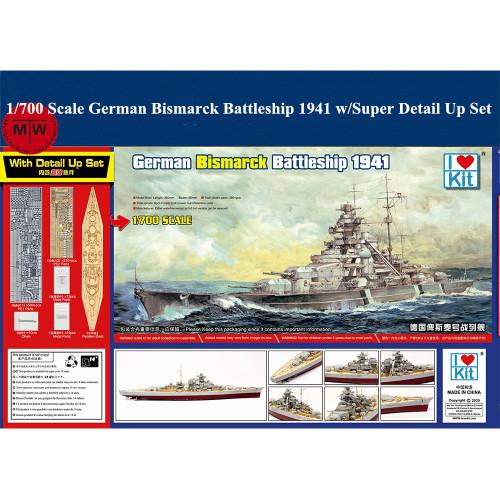 Trumpeter 65701 1/700 Scale German Bismarck Battleship 1941 Plastic Assembly Model Kit w/Super Detail Up Set