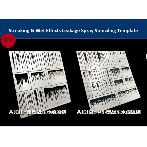 Alexen AJ0111/AJ0112 Streaking & Wet Effects Leakage Spray Stenciling Template Aging Assistant Tools for 1/32 1/35 1/100 Scale Model
