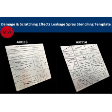 Alexen AJ0113/AJ0114 Damage & Scratching Effects Leakage Spray Stenciling Template Aging Assistant Tools for 1/32 1/35 1/100 Scale Model