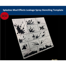 Alexen AJ0115 Splashes Mud Effects Leakage Spray Stencil Template Aging Assistant Tools for 1/32 1/35 1/100 Scale Model
