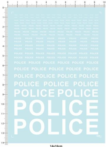 1/18 1/12 1/24 1/20 1/43 Scale Model Decals Police (white)