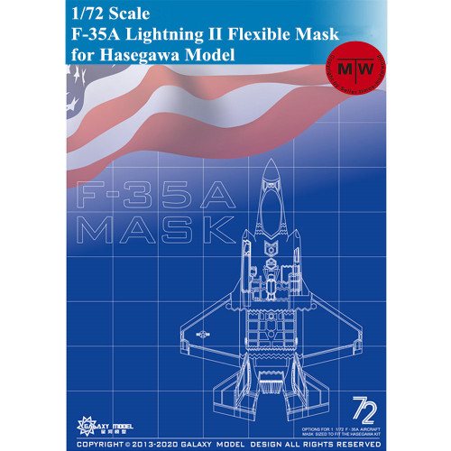Galaxy D72003 1/72 Scale F-35A Lightning II Die-Cut Flexible Mask for Hasegawa 01572 Airplane Model