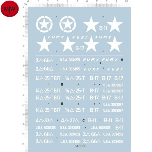 1/35 Scale US Army B-B M4 Sherman Star Water Decal for Tank Model Kit 64666B