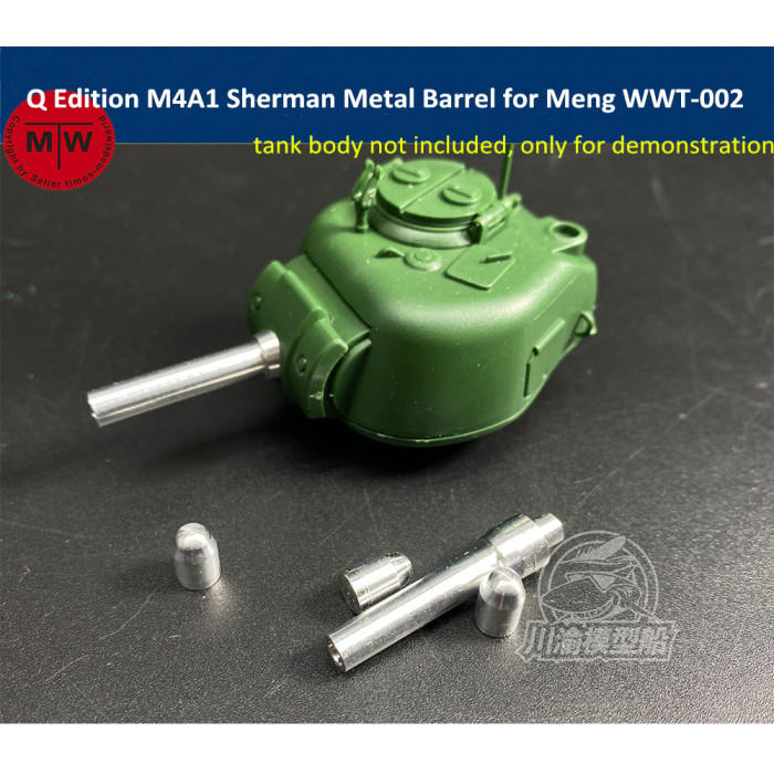 Q Edition M4A1 Sherman Metal Barrel Shell Upgrade Kit for Meng WWT-002 US Medium Tank Model CYD012