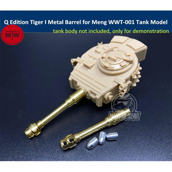 Q Edition Tiger I Metal Barrel Shell Kit for Meng WWT-001 German Heavy Tank Model CYD020