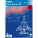Galaxy D48015 1/48 Scale Sukhoi SU-33 Flanker-D Carrier-Borne Fighter Red 80 Camouflage Flexible Mask for MiniBase 48001 Model