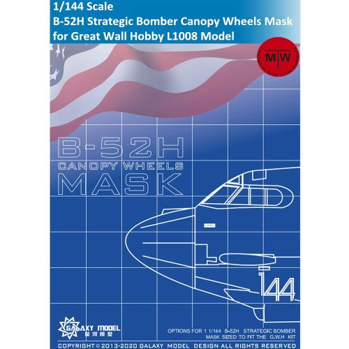 Galaxy C144001 1/144 Scale B-52H Strategic Bomber Canopy Wheels Die-cut Flexible Mask for Great Wall Hobby L1008 Model