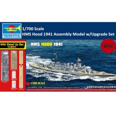 Trumpeter 65703 1/700 Scale HMS Hood 1941 Plastic Assembly Model Kit with Upgrade Set Wooden Deck PE Metal Parts