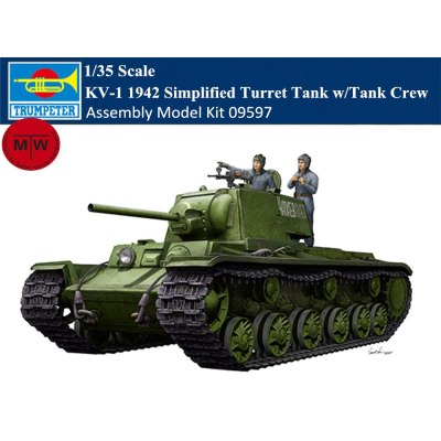 Trumpeter 09597 1/35 Scale KV-1 1942 Simplified Turret Tank w/Tank Crew Military Plastic Assembly Model Kit