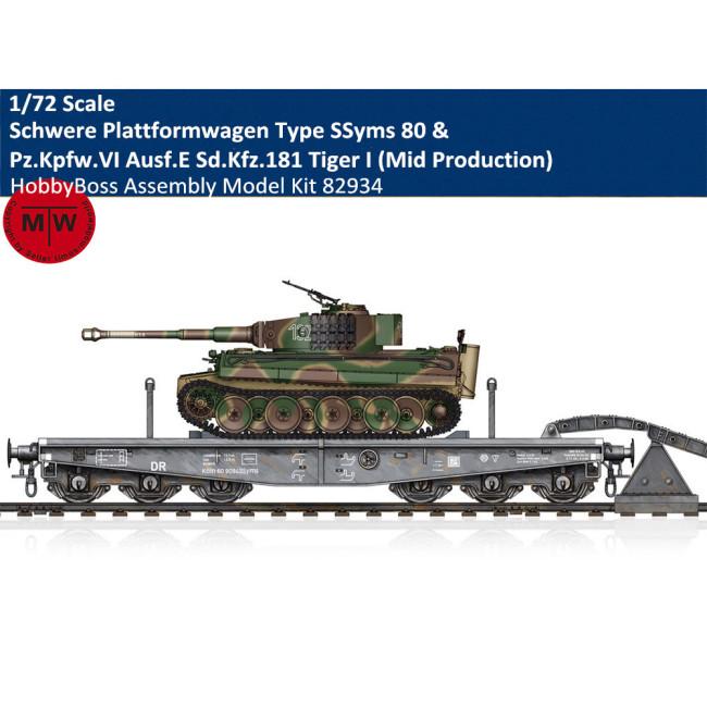 HobbyBoss 82934/Chuanyu CYT027 1/72 Scale Schwere Plattformwagen Type SSyms 80&Pz.Kpfw.VI Ausf.E Sd.Kfz.181 Tiger I (Mid Production)  Assembly Model Kit/Wooden Deck Metal Barrel Upgrade Set