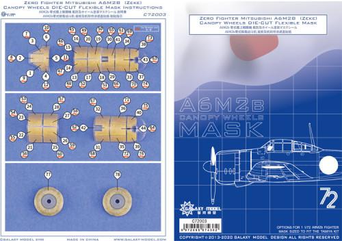 Galaxy C72003 1/72 Scale Canopy Wheels Die-cut Flexible Mask for Tamiya A6M2b Model
