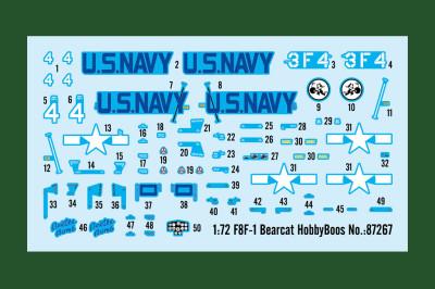 HobbyBoss 87267 1/72 Scale F8F-1 Bearcat Fighter Military Plastic Aircraft Assembly Model Kit