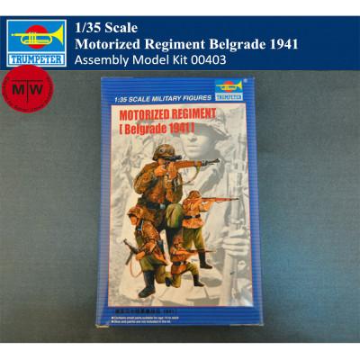 Trumpeter 00403 1/35 Scale German Motorized Regiment Belgrade 1941 Soldier Figures Military Plastic Assembly Model Kits