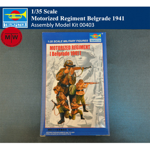 Trumpeter 00403 1/35 Scale German Motorized Regiment Belgrade 1941 Soldier Figures Military Plastic Assembly Model Kits